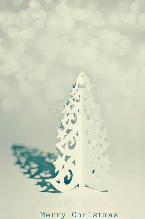 L'albero di Natale Handmade ha tagliato da documento fotografia stock