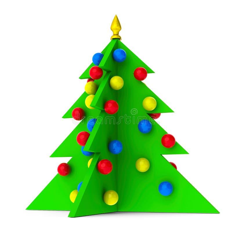 L'albero di Natale luminoso ha isolato illustrazione di stock