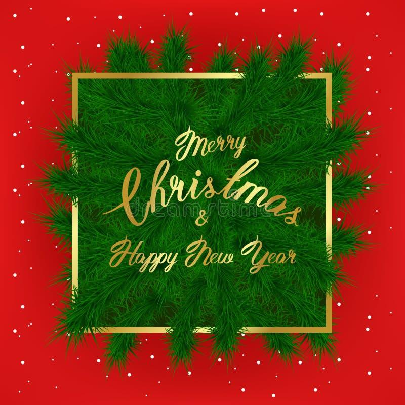 L'albero di Natale si ramifica con lo slogan e struttura e neve sottili dorate su fondo rosso Buon anno dell'iscrizione illustrazione di stock