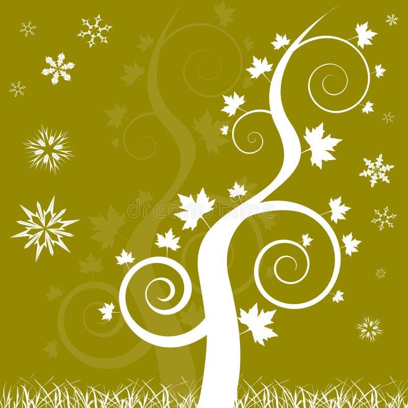 L'albero di quercia di tema di inverno swirly con neve si sfalda illustrazione vettoriale