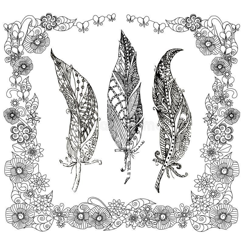 L'albero disegnato a mano mette le piume a nelle azione monocromatiche stilizzate zentangle floreale della struttura illustrazione vettoriale