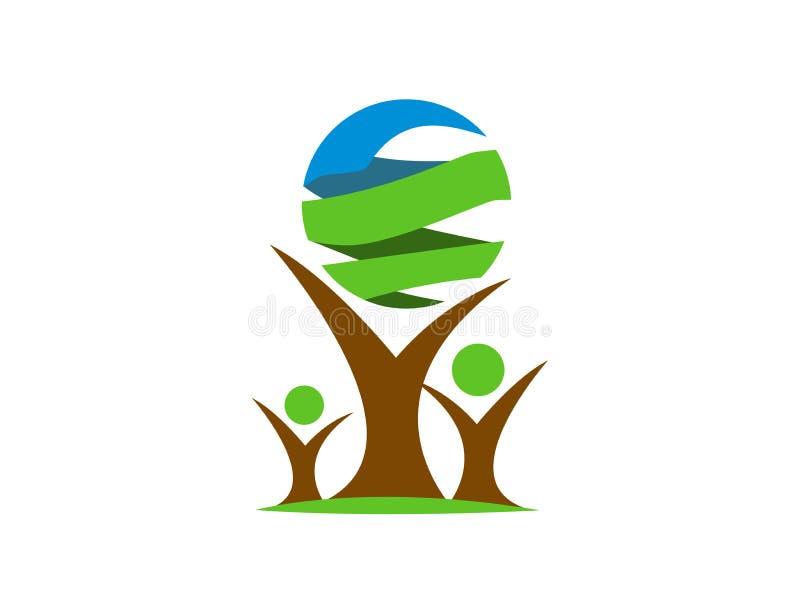 L'albero e la terra conservano il logo della natura immagini stock