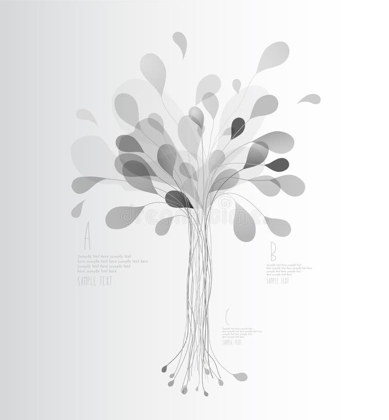 L'albero grigio delle tonalità ha creato dalle linee e dalle foglie illustrazione di stock