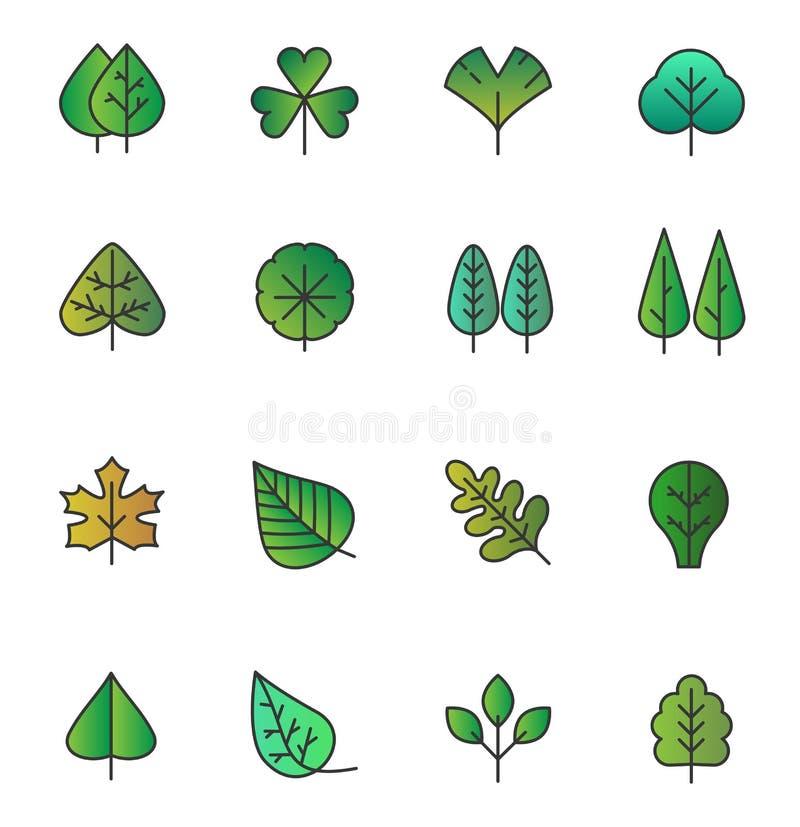 L'albero semplice di vettore lascia le icone isolate Fogliame giallo verde, raccolta stilizzata delle erbe in piano disegnato a m illustrazione vettoriale