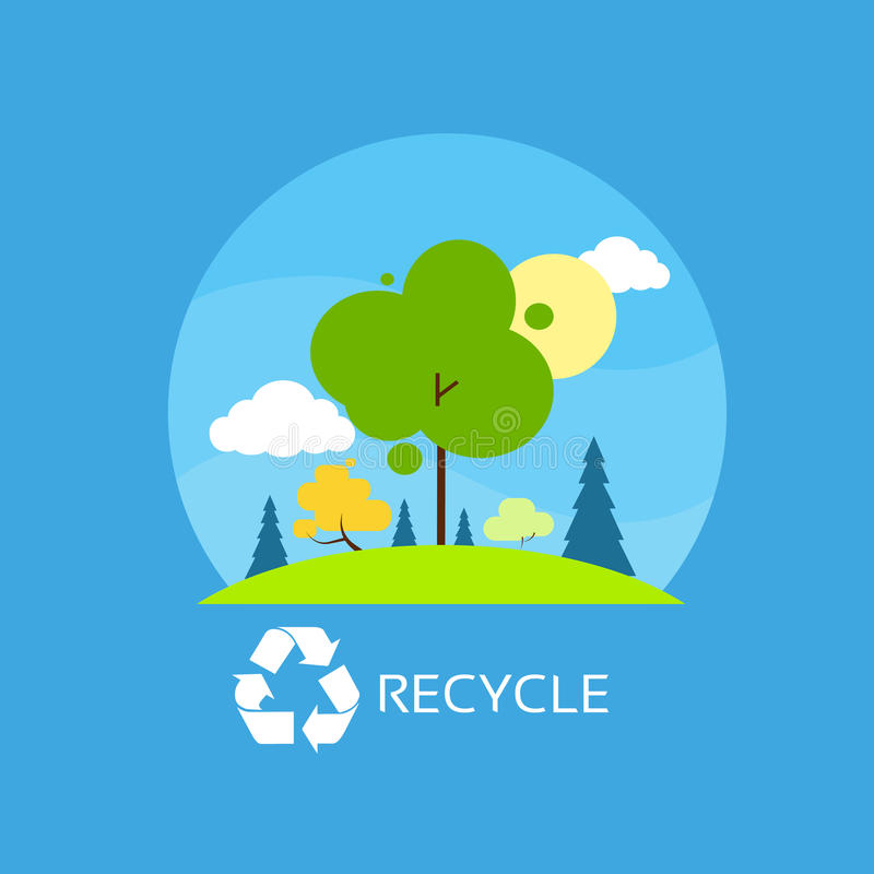L'albero verde ricicla le nuvole piane del cielo blu dell'icona di eco royalty illustrazione gratis
