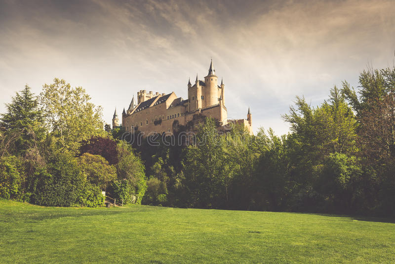 L'alcazar famoso di Segovia, Castiglia y Leon, Spagna immagini stock