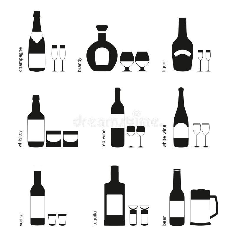 L'alcool beve i vetri ed imbottiglia le icone illustrazione di stock
