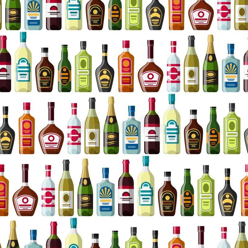 L'alcool beve il modello senza cuciture Bottiglie per i ristoranti e le barre royalty illustrazione gratis
