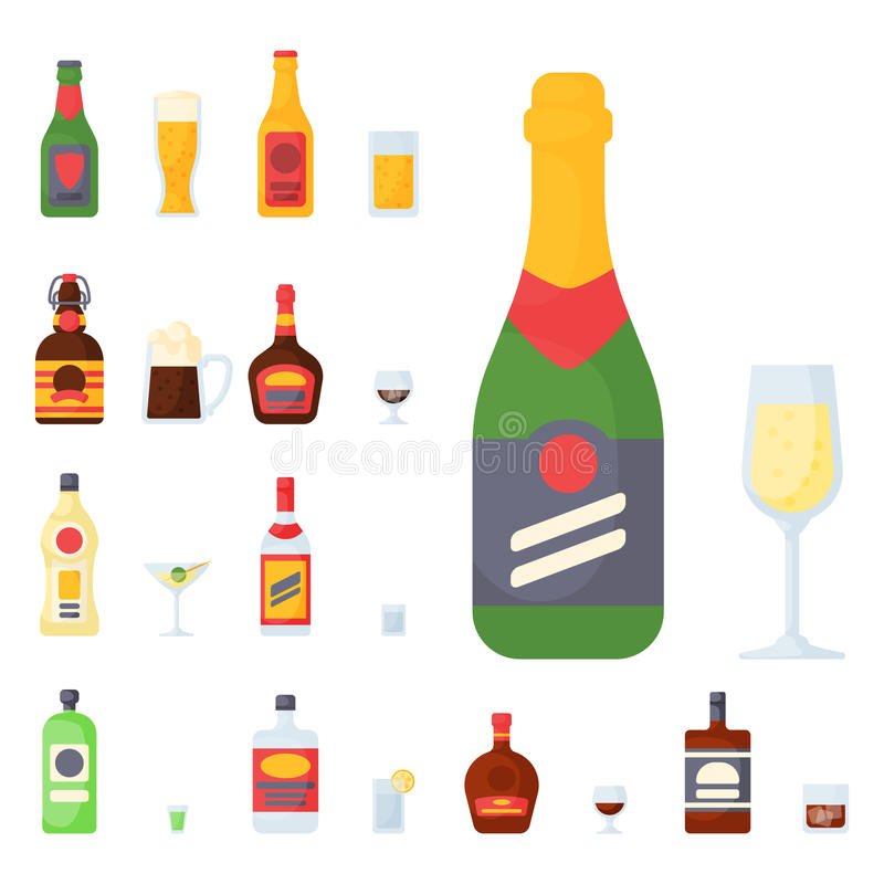 L'alcool beve l'illustrazione differente di vettore potabile contenitore di vetro della lager della bottiglia del cocktail delle  royalty illustrazione gratis