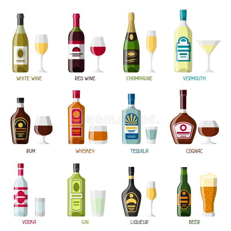 L'alcool beve l'insieme dell'icona Bottiglie, vetri per i ristoranti e barre royalty illustrazione gratis