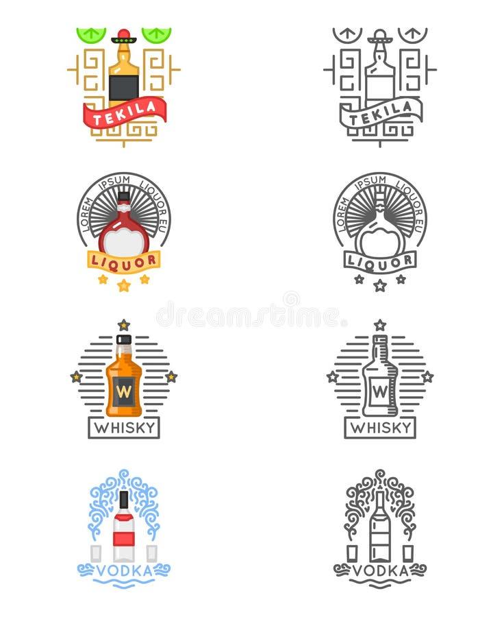 L'alcool beve l'insieme di logo Etichette del whiskey e di tequila, della vodka o del liquore per le barre dei ristoranti illustrazione di stock