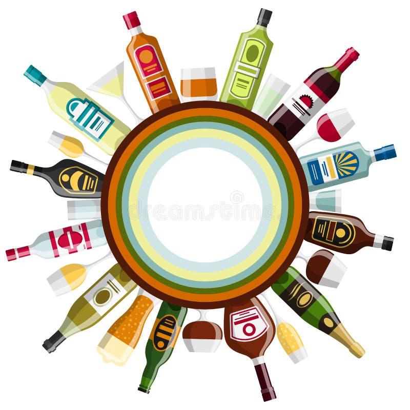 L'alcool beve la progettazione del fondo Bottiglie, vetri per i ristoranti e barre illustrazione di stock