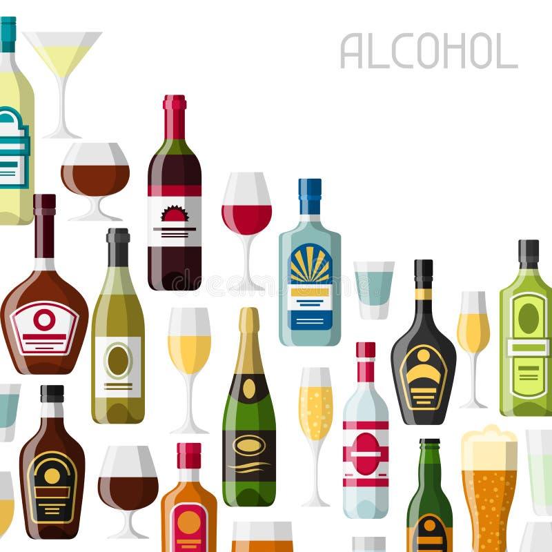 L'alcool beve la progettazione del fondo Bottiglie, vetri per i ristoranti e barre royalty illustrazione gratis