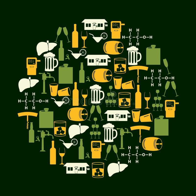 L'alcool beve le icone messe nel cerchio di colore royalty illustrazione gratis