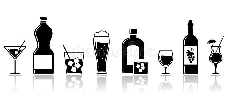 L'alcool beve le icone Progettazione dell'insegna illustrazione di stock