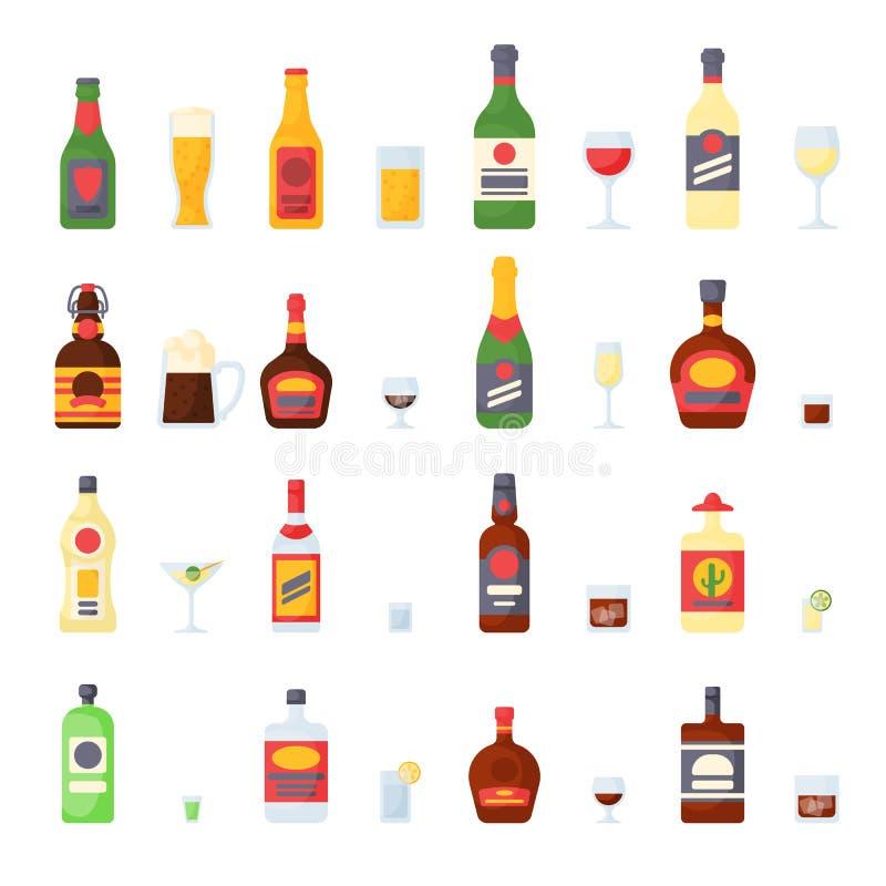 L'alcool beve nella raccolta di vettore del vino del champagne della birra del brandy del cognac del whiskey di vetro di cocktail royalty illustrazione gratis