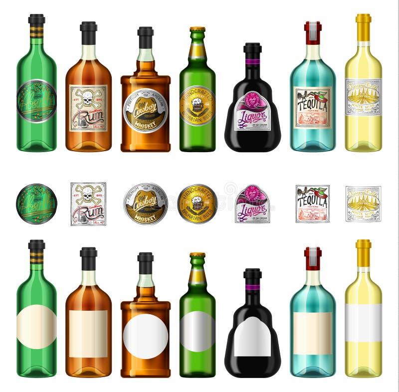 L'alcool beve in una bottiglia con differenti etichette d'annata Rum assente realistico della birra del whiskey del vino di tequi illustrazione di stock