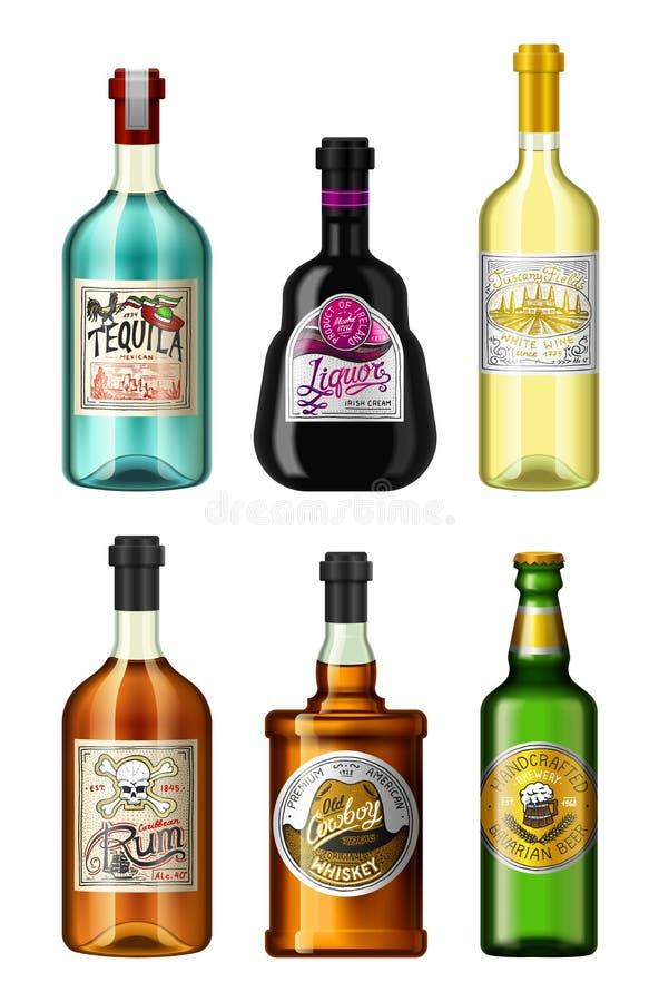 L'alcool beve in una bottiglia con differenti etichette d'annata Rum assente realistico della birra del whiskey del vino di tequi illustrazione vettoriale