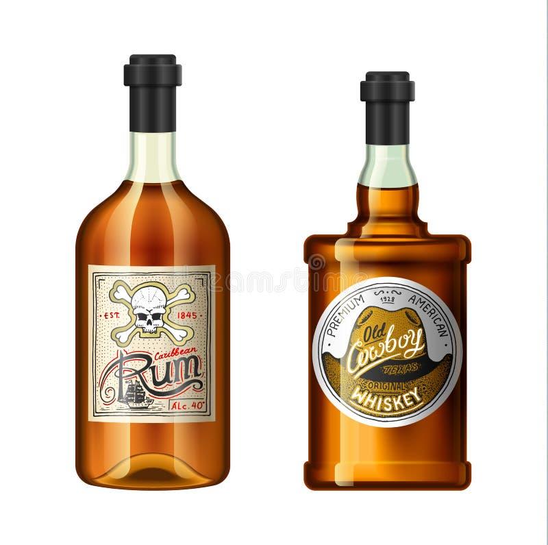 L'alcool beve in una bottiglia con differenti etichette d'annata Rum realistico del whiskey Illustrazione di vettore per il menu  royalty illustrazione gratis