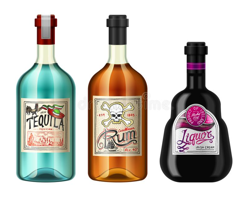 L'alcool beve in una bottiglia con differenti etichette d'annata Rum realistico di tequila del liquore Illustrazione di vettore p illustrazione di stock