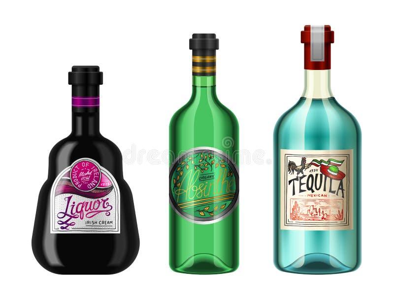 L'alcool beve in una bottiglia con differenti etichette d'annata Tequila assente realistica del liquore Illustrazione di vettore  illustrazione di stock