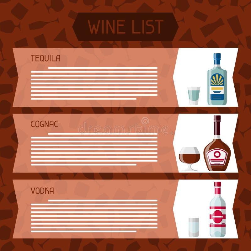 L'alcool boit des bouteilles de menu ou de carte des vins, des verres pour des restaurants et des barres illustration stock