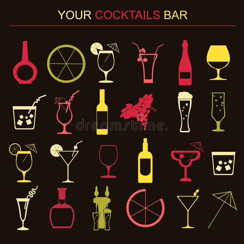 L'alcool boit des graphismes 16 icônes plates réglées illustration de vecteur