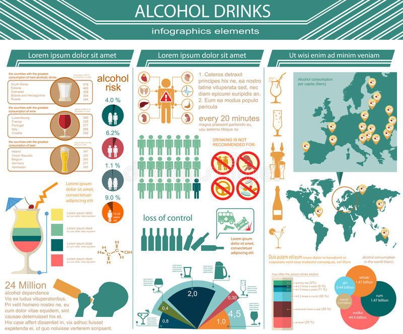 L'alcool boit infographic illustration libre de droits