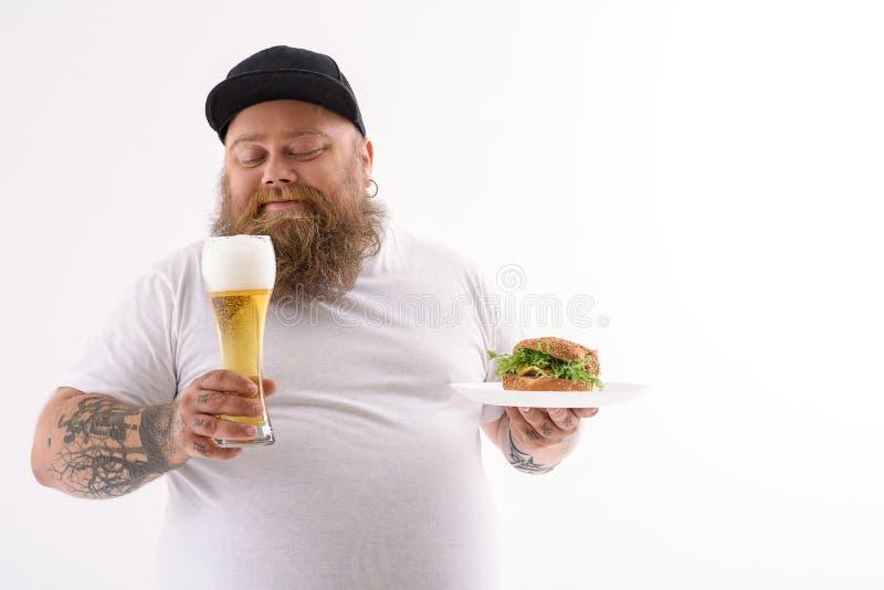 L'alcool ed il panino sono i miei migliori amici fotografie stock libere da diritti