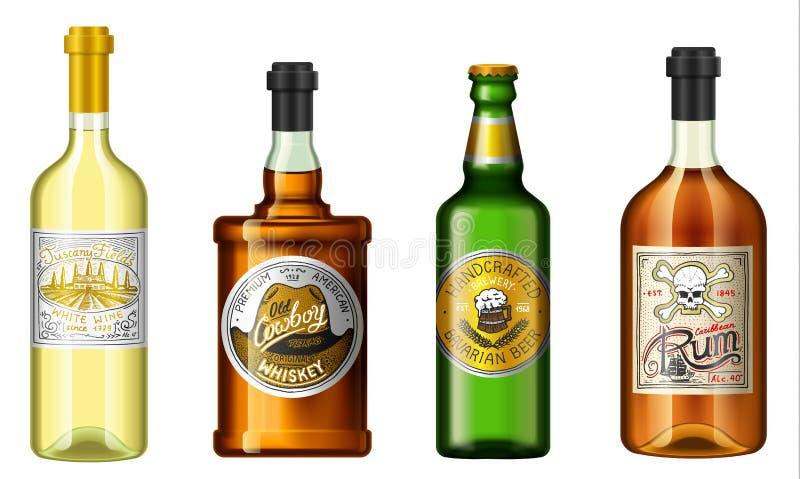 L'alcool realistico beve in una bottiglia con differenti etichette d'annata Rum della birra del whiskey del vino Illustrazione di illustrazione vettoriale