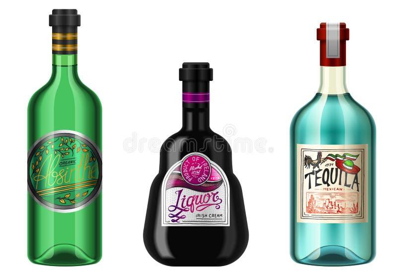 L'alcool realistico beve in una bottiglia con differenti etichette d'annata Tequila assente del liquore Illustrazione di vettore royalty illustrazione gratis