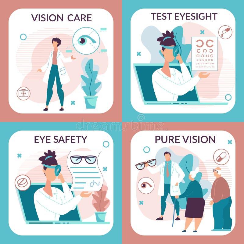 L'aletta di filatoio informativa è scritta il piano di cura della visione illustrazione vettoriale