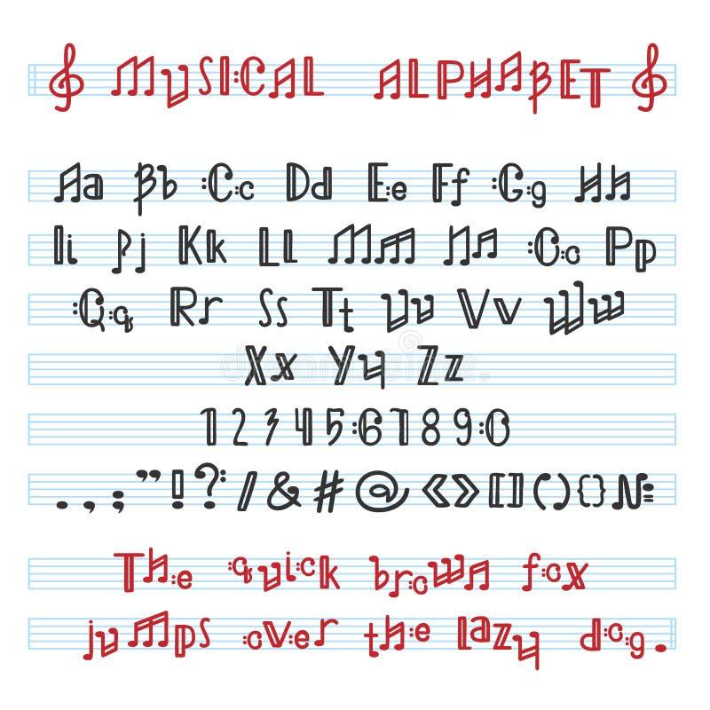 L'alfabeto ABC vector la fonte alfabetica musicale con le lettere della nota di musica dell'illustrazione alfabetica di tipografi royalty illustrazione gratis