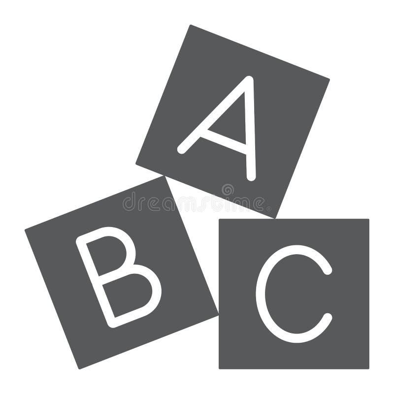 L'alfabeto cuba l'icona di glifo, il ABC ed il giocattolo, segno del blocco, grafica vettoriale, un modello solido su un fondo bi illustrazione vettoriale
