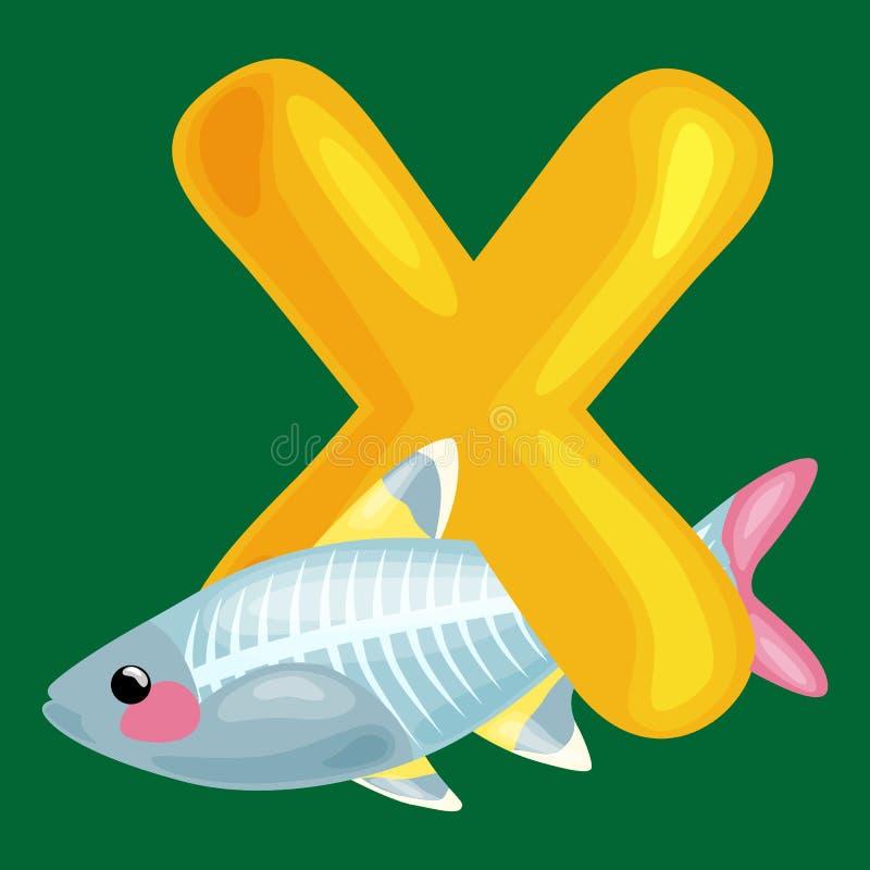 L'alfabeto degli animali per i bambini pesca la lettera x, l'istruzione in scuola materna, l'apprendimento sveglio di ABC di dive illustrazione vettoriale