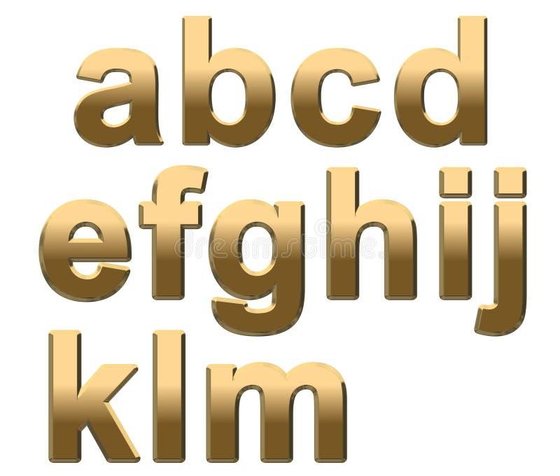 L'alfabeto dell'oro segna la lettera minuscola con lettere A - m. su bianco illustrazione vettoriale