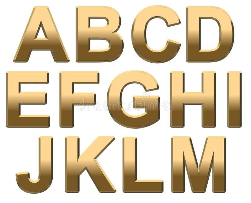 L'alfabeto dell'oro segna la maiuscola con lettere A - m. su bianco royalty illustrazione gratis