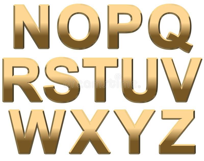 L'alfabeto dell'oro segna N-Z con lettere maiuscolo su bianco illustrazione di stock