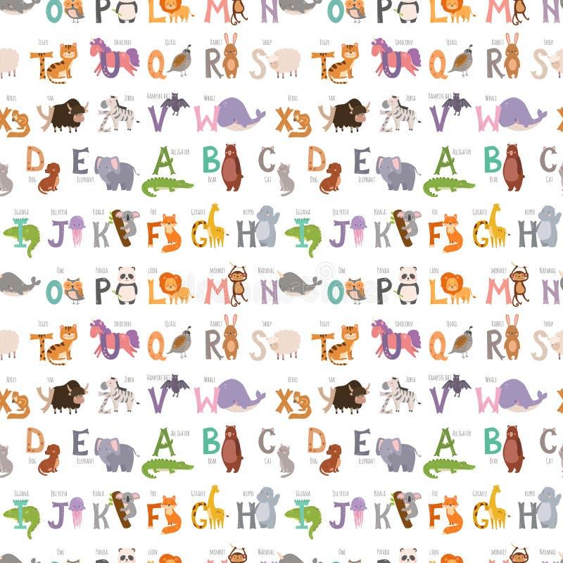 L'alfabeto dello zoo con la fauna selvatica divertente delle lettere del fondo senza cuciture del modello degli animali del fumet royalty illustrazione gratis