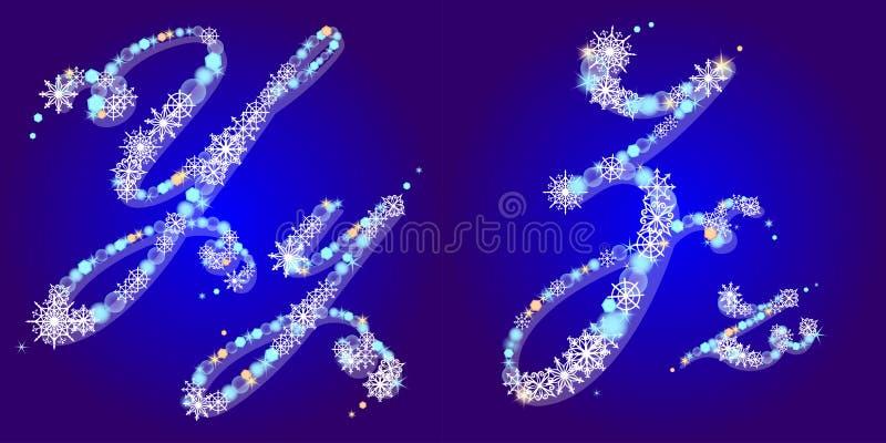 L'alfabeto di inverno con i fiocchi di neve segna Y con lettere, Z illustrazione di stock