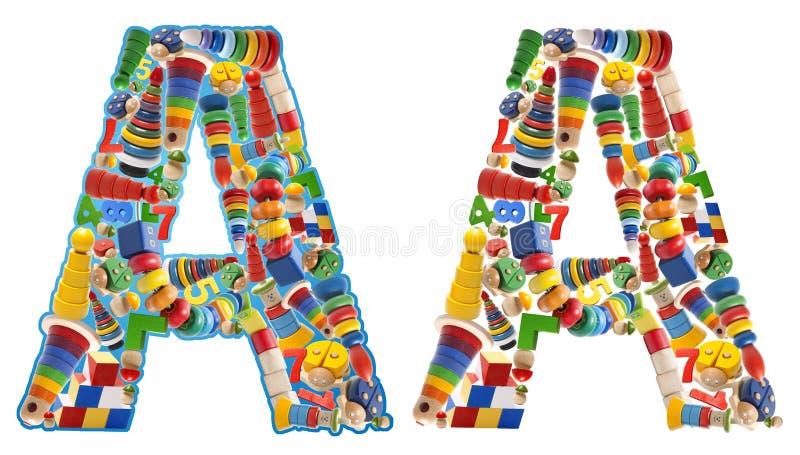 L'alfabeto di legno dei giocattoli - segni A con lettere fotografia stock libera da diritti