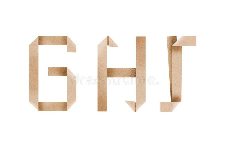 L'alfabeto di origami segna il ghi con lettere fotografia stock