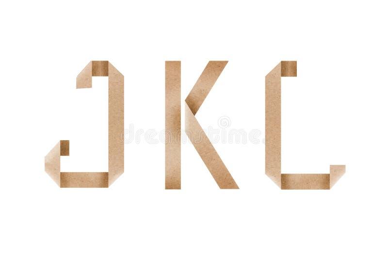 L'alfabeto di origami segna il jkl con lettere immagini stock