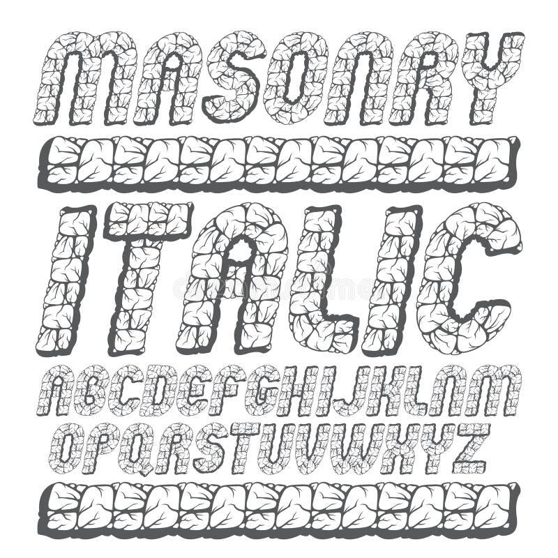 L'alfabeto inglese capitale antico di vettore segna la raccolta con lettere grassetto royalty illustrazione gratis