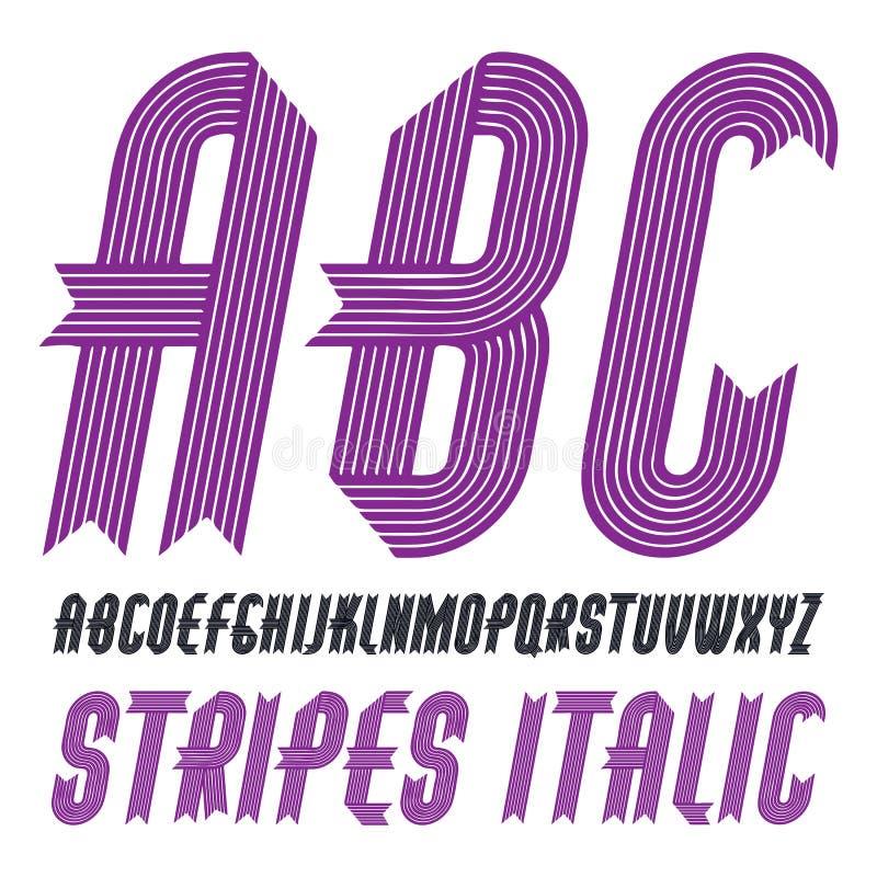 L'alfabeto maiuscolo moderno d'avanguardia di vettore segna la raccolta con lettere Il grassetto condensato corsivo classico la f illustrazione di stock