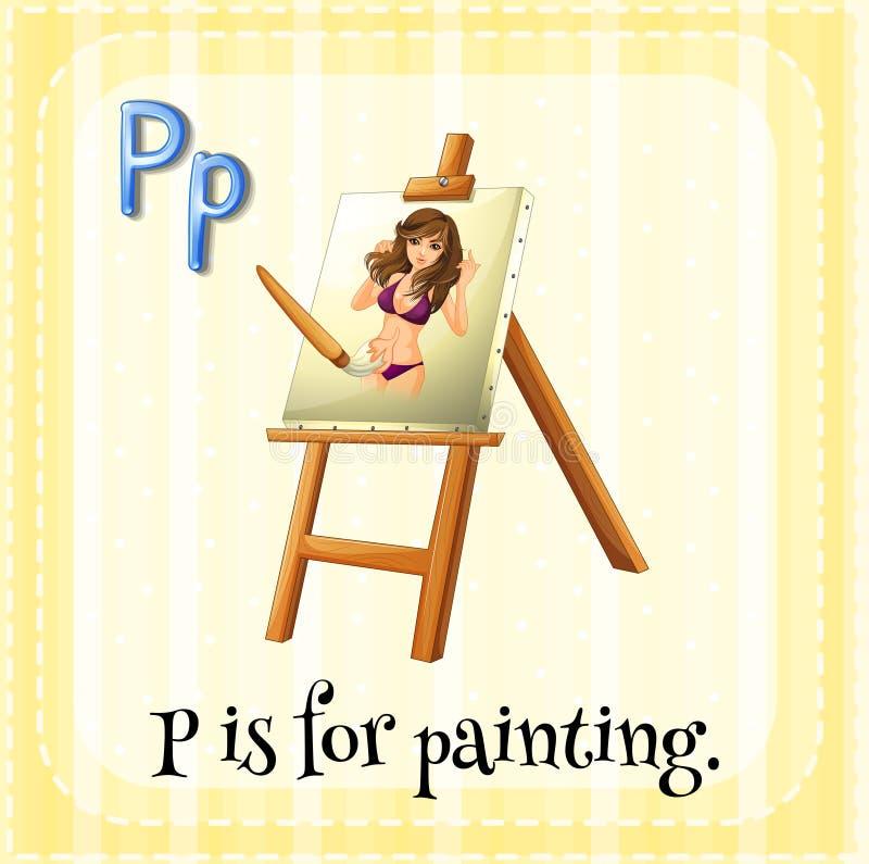 L'alfabeto P di Flashcard è per dipingere illustrazione di stock