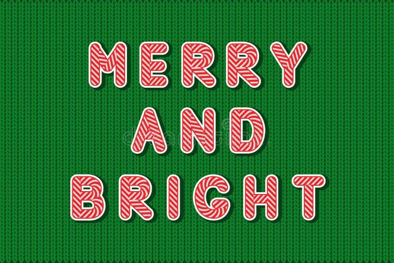 L'alfabeto rosso e bianco sveglio della lecca-lecca di Candy, cita allegro e luminoso, su fondo piano tricottato verde, fatto nel illustrazione vettoriale