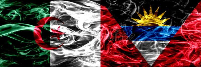 L'Algérie, Algérien contre des drapeaux de fumée de l'Antigua-et-Barbuda a placé côte à côte Les drapeaux de concept et d'idée se illustration libre de droits