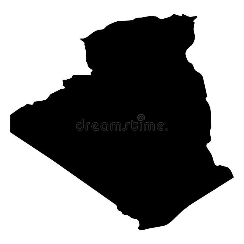 L'Algérie - carte noire solide de silhouette de secteur de pays Illustration plate simple de vecteur illustration libre de droits