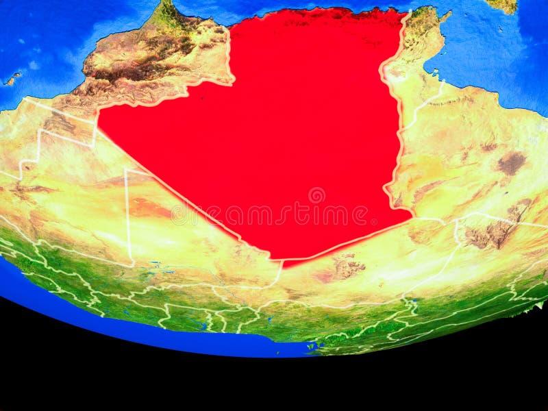L'Algérie de l'espace sur terre illustration de vecteur